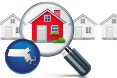 Massachusetts - a house viewed through a magnifying glass