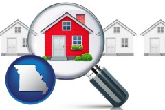 Missouri - a house viewed through a magnifying glass