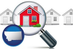 Montana - a house viewed through a magnifying glass