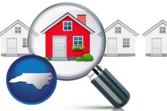 North Carolina - a house viewed through a magnifying glass