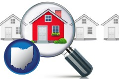 Ohio - a house viewed through a magnifying glass