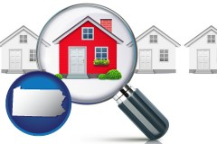 Pennsylvania - a house viewed through a magnifying glass