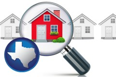 Texas - a house viewed through a magnifying glass