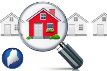 a house viewed through a magnifying glass with Maine map icon