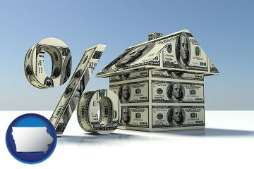 a real estate loan rate with Iowa map icon