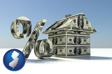 a real estate loan rate with New Jersey map icon