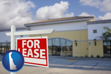 commercial real estate for lease with Delaware map icon