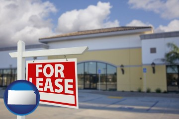 commercial real estate for lease with Kansas map icon