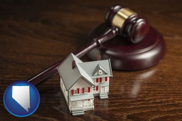 a model house and a gavel with Nevada map icon