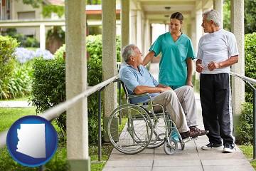 retirement care with Arizona map icon