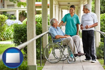 retirement care with Colorado map icon