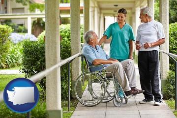 retirement care with Washington map icon