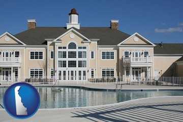 an active adult community center and swimming pool with Delaware map icon