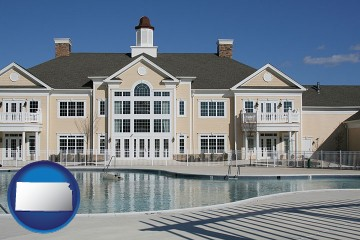an active adult community center and swimming pool with Kansas map icon