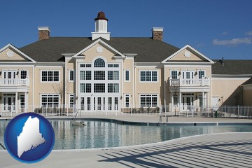 an active adult community center and swimming pool with Maine map icon