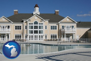 an active adult community center and swimming pool with Michigan map icon