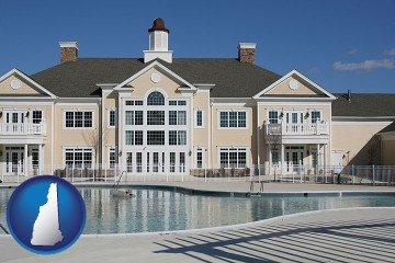 an active adult community center and swimming pool with New Hampshire map icon