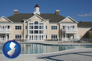 an active adult community center and swimming pool with New Jersey map icon