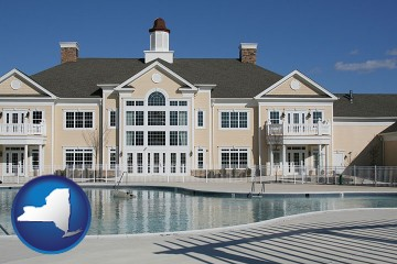 an active adult community center and swimming pool with New York map icon