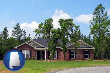 a single story retirement home with Alabama map icon