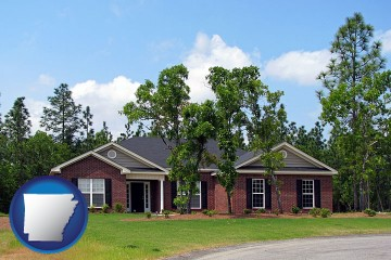 a single story retirement home with Arkansas map icon