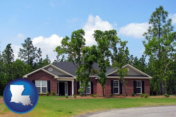 a single story retirement home with Louisiana map icon