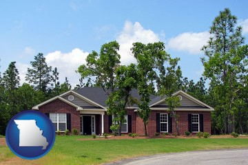 a single story retirement home with Missouri map icon