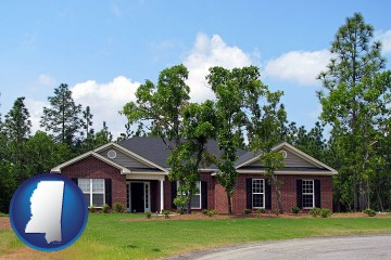 a single story retirement home with Mississippi map icon
