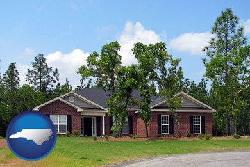 a single story retirement home with North Carolina map icon