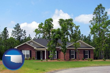 a single story retirement home with Oklahoma map icon