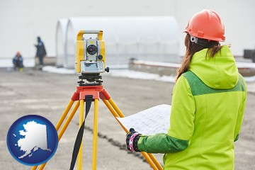 surveying services with Alaska map icon