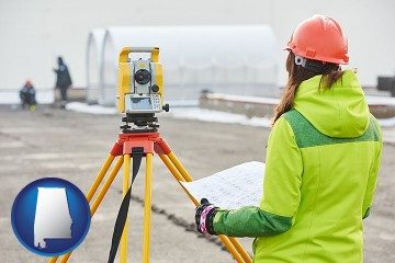 surveying services with Alabama map icon