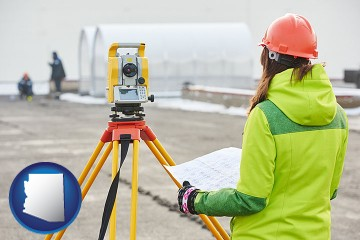 surveying services with Arizona map icon