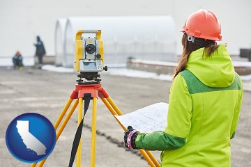 surveying services with California map icon