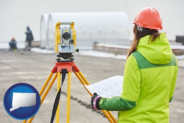 surveying services with Connecticut map icon