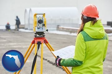 surveying services with Florida map icon