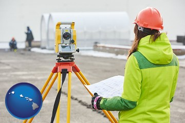 surveying services with Hawaii map icon