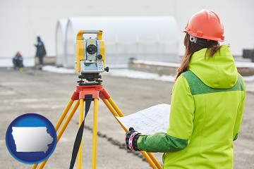 surveying services with Iowa map icon