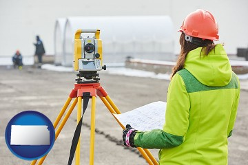 surveying services with Kansas map icon