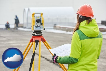 surveying services with Kentucky map icon