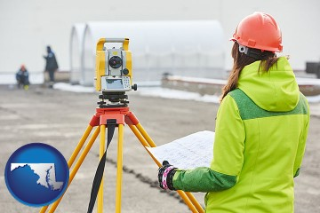 surveying services with Maryland map icon