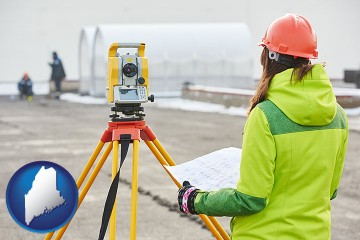 surveying services with Maine map icon