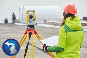 surveying services with Michigan map icon