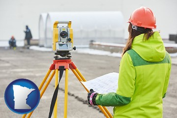 surveying services with Minnesota map icon