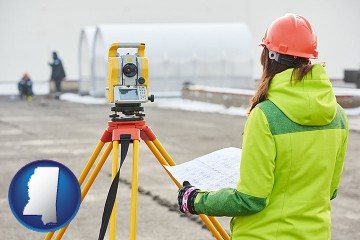 surveying services with Mississippi map icon