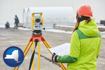 surveying services with New York map icon