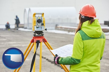 surveying services with Oklahoma map icon