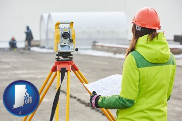 surveying services with Rhode Island map icon