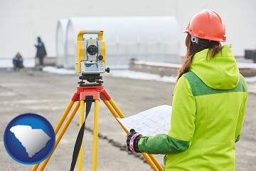 surveying services with South Carolina map icon