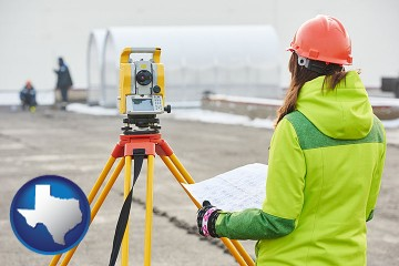 surveying services with Texas map icon
